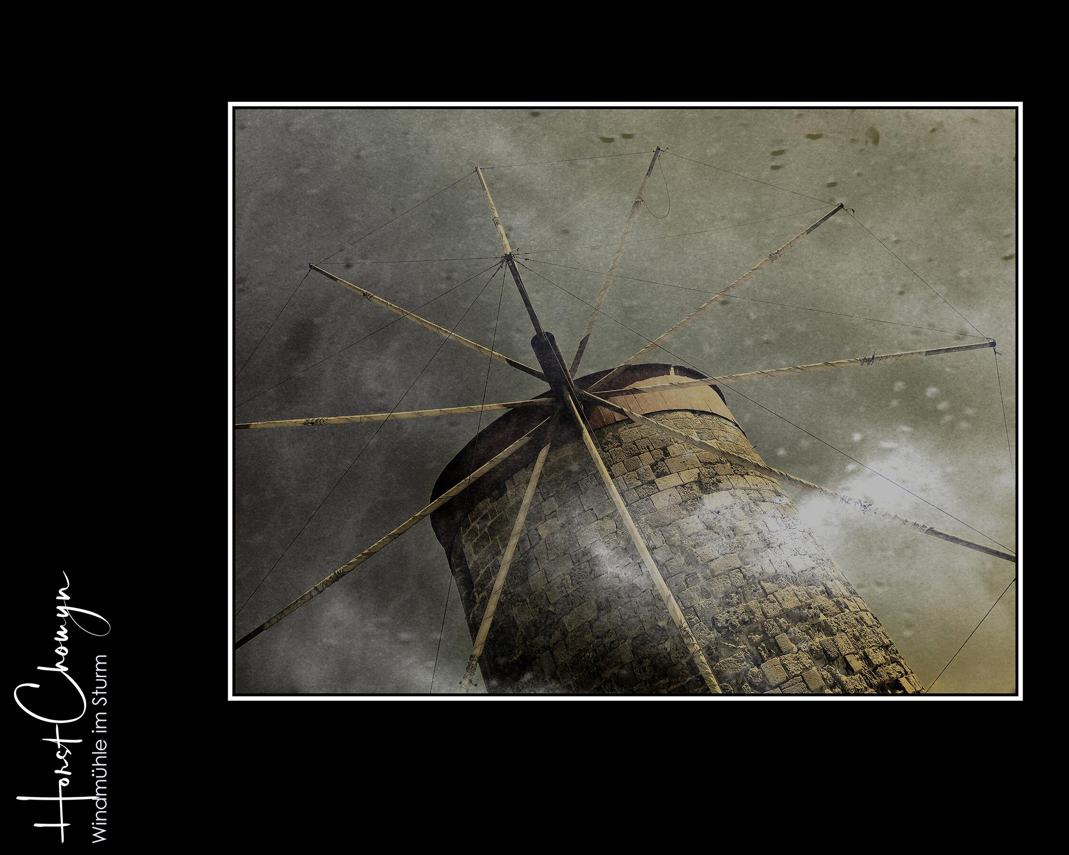 Windmühle im Sturm